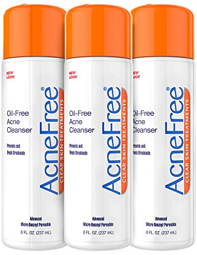 (AcneFree Oil-Free Acne Cleanser Three Pack, Benzoyl Peroxide 2.5% Acne Face Wash to Prevent New Acne and Treat Existing Breakouts, 8 Ounce)