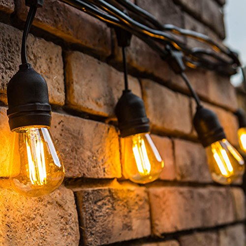 Outdoor String Lights LED 48 Feet Advanced Weatherproof Design Connectable String of Light,15 Heavy Duty Hanging Socket -E26 for Porch Patio Garden Backyard Chips String
