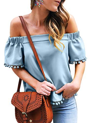 AlvaQ Women Summer Off The Shoulder Shirts Short Sleeve Tops Pop Pop Trim Tassel Juniors Blouses Blue Medium