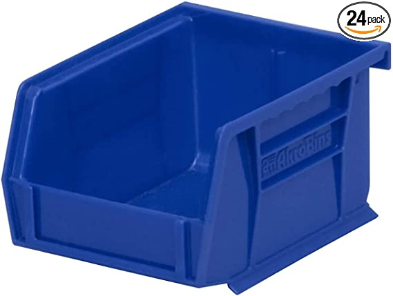 """H Red Stackable Storage Bin 5-1//2/"""" x 3/"""" - Lot of 24 x 4/"""" L W"""