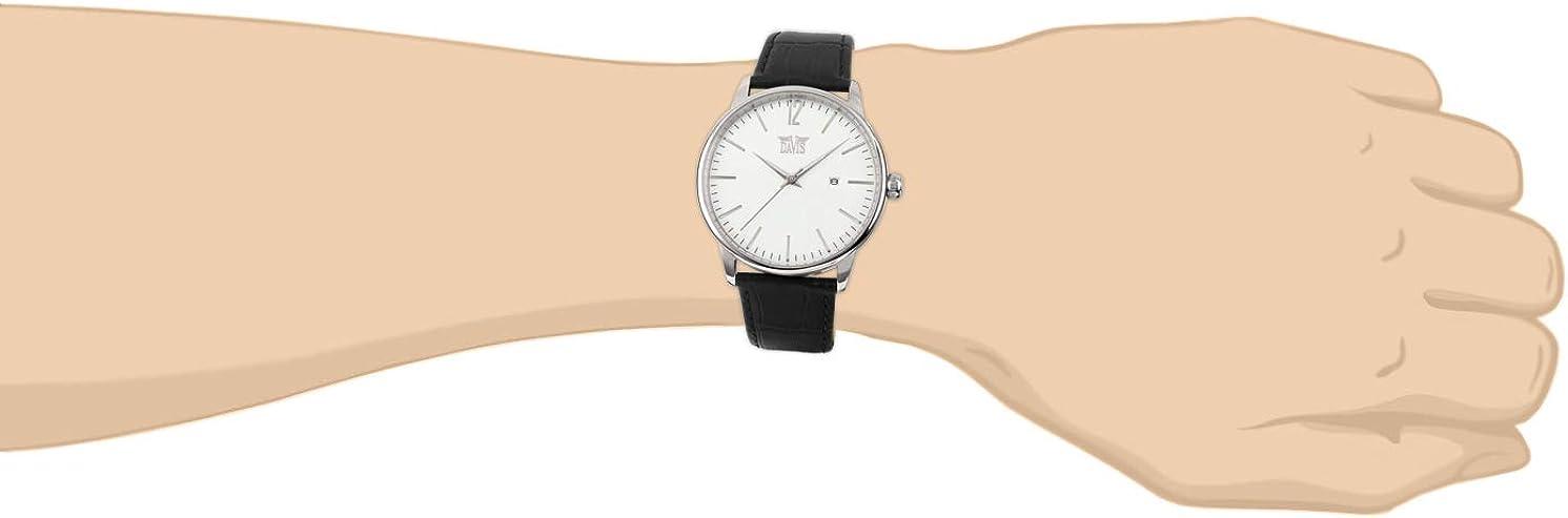 Davis - Montre Rétro Vintage Homme Cadran Blanc Date Acier / Bracelet Cuir Noir