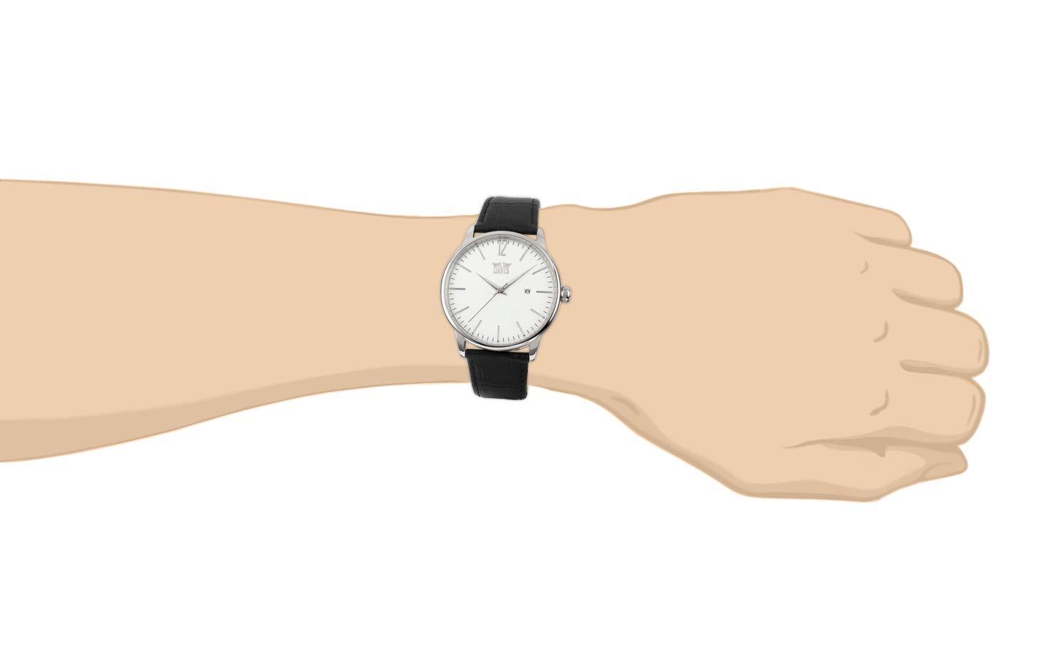 Davis-herr retro vintage klocka visat siffertavla datum Stål/svart läderarmband