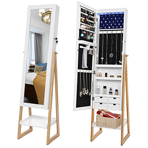 SONGMICS 6 LEDs Lights Jewelry Cabinet Armoire with Mirror, Scandinavian Style Spacious Jewery Storage Organizer 4 Drawers, UJBC72WN