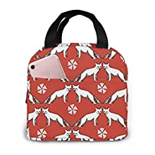 Antfeagor Portable Lunch Tote Bag Cute Arctic Fox Winter Lunch Bag Insulated Cooler Thermal Reusable Bag Lunch Box Handbag Bags for Women/Picnic/Boating/Beach/Fishing/Work