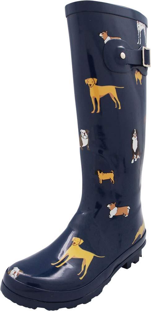 NORTY - Womens Hurricane Wellie Printed Look at Me Dog Hi-Calf Rain Boot, Blue 40714-9B(M) US