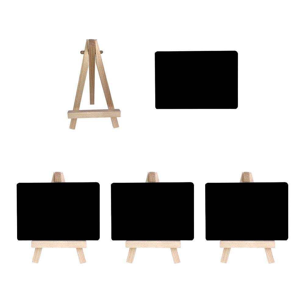 Mehrondo 4 Stück Staffelei mit Solider Kunststoff-Tafel ST107 Ideal für Namensschilder und Tischdekoration, Tafeln mit Glatter Oberfläche in Größe Din A7 (105 x 74 mm)