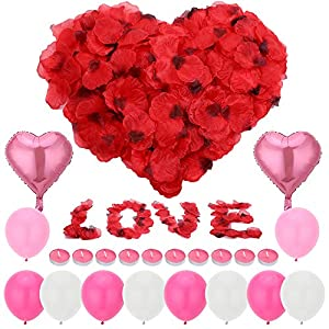 Auihiay Romantic Silk Rose Petals Candles Set Include 1000pcs Red Artificial Flower Petals, 10pcs Tea Lights Candles, 12pcs Balloons for Valentine Wedding Romantic Party Decoration 119
