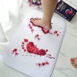 Color Changing Bathroom Mat Blood Bath Mat, Sam Young Home Decor Bloody Footprints Rugs For Bathroom, Water Absorption Non-slip Rug, Brand Soft Fluffy Comfy Carpets Halloween Decoration Gift Creative Horror Shower Floor Mats