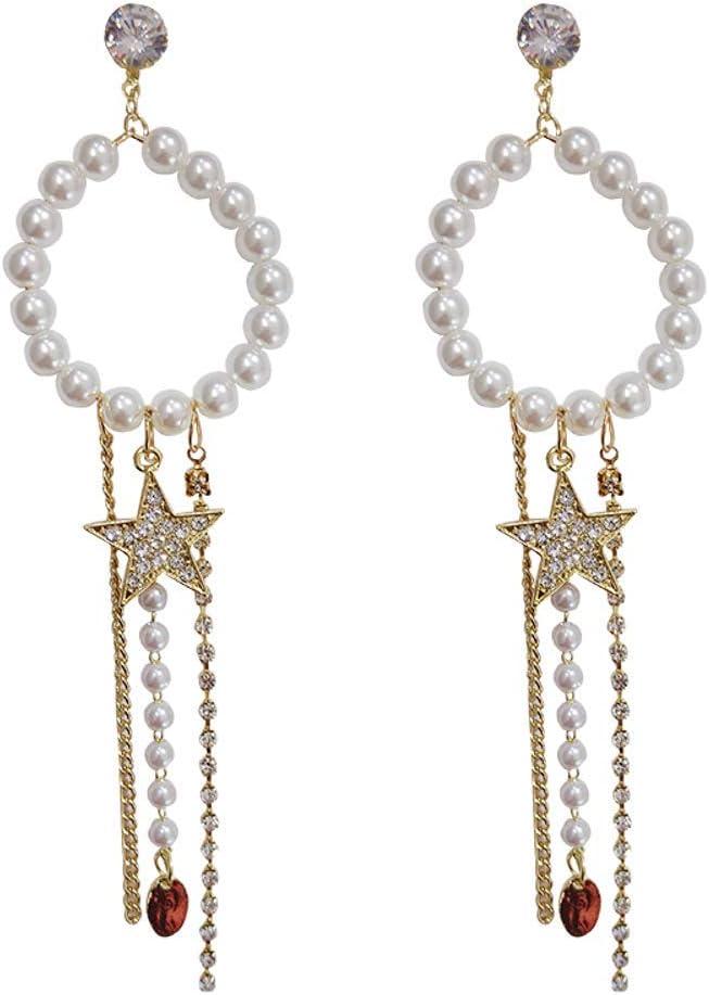 BEAUTYLEE Aretes de Mujer aretes Largos con borlas y Perlas Accesorios de Vestir