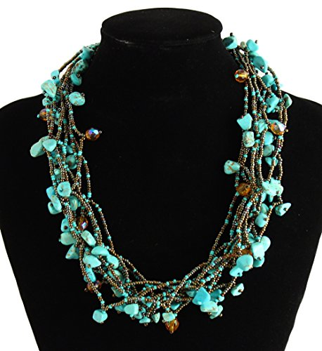 """NE101-136 Crystal Glass Beads Full of Goodies Necklace 19"""" Turquoise Hematite Collar Multistrand from Unknown"""