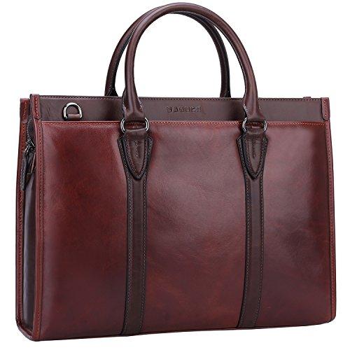 Banuce Vintage Full Grain Leather Briefcase for Men 2way Business Tote Laptop Shoulder Messenger Bag Attache Case by Banuce