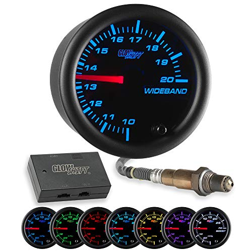 (GlowShift Black 7 Color Needle Wideband Air/Fuel Ratio AFR Gauge - Includes Oxygen Sensor, Data Logging Output & Weld-in Bung - Black Dial - Clear Lens - 2-1/16