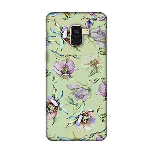Samsung Galaxy A8 2018 Case - Watercolour poppy- Lime green and arctic blue, Premium Handcrafted Designer Snap On Case Printed Hard Plastic Back Cover With Screen Cleaning Kit - Light Arctic Blue Apparel