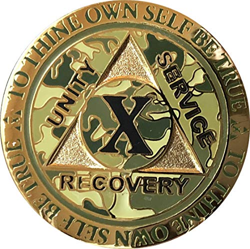10 Year AA Medallion Reflex Camo Gold Plated Camouflage Color -