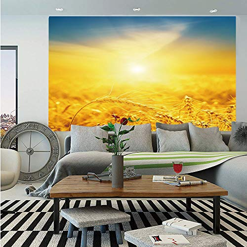 (SoSung Yellow and Blue Wall Mural,Sunset Over Harvest Wheat Nature Rural Field Autumn Landscape,Self-Adhesive Large Wallpaper for Home Decor 55x78 inches,Earth Yellow Petrol Blue)