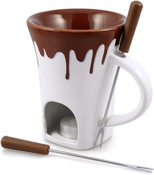 Personal Chocolate Fondue Mug Set Cup Fork Mini Fountain Maker Her Him Gifts