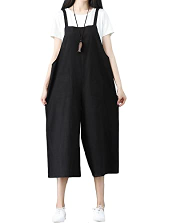 4d65bb2f77f4c Mallimoda Women's Cotton Baggy Dungarees Sleeveless Strap Jumpsuit Playsuit  Trousers Pants Overalls Black 2XL//