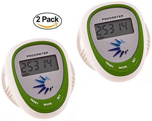 Track4Life Health Activity Walking Pedometer - Fitness Step Counter Multifunction Shoe Lace Distance Calorie Tracker for Running and Exercise Accurate Measuring. Splash Proof - 2 Pack Green