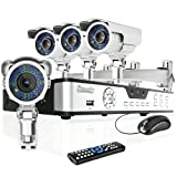 Zmodo 4CH H.264 DVR Security Surveillance Camera System with 4 Sony CCD Outdoor Night Vision IR Audio Security Camera With 1TB Hard Drive