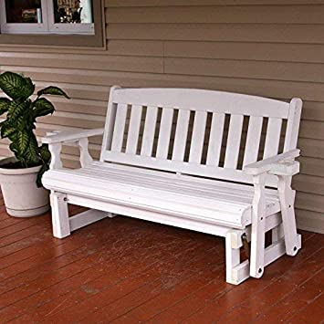 CAF Amish Heavy Duty 800 Lb Mission Pressure Treated Porch Glider with Cupholders 5 Foot, Semi-Solid White Stain