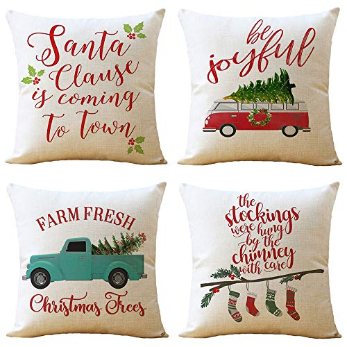 WOMHOPE Throw Pillow Covers Cases Merry Christmas Red Truck Car Tree Pillowcases Cushion Covers Decorative Throw Pillow Case Throw Covers 18 x 18 Inch,Set of 4 (Green Truck) ()