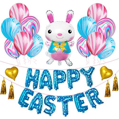 Konxxtt Ornaments, Happy Easter Rabbit Balloons Aluminum Mylar Decorative Balloons Festival Party Supplies Home Decor(Blue,One Size)