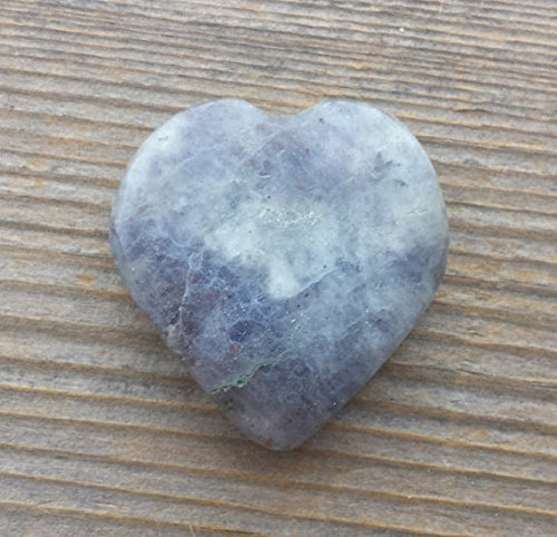 [A&S Crystals] NATURAL IOLITE Gemstone Puffy Heart 30-35mm