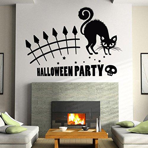 BIBITIME Scary Halloween Wall Stickers Vinyl Home Decor Shop Window Decals Room Art Murals Pub Bar Indoor Scene Setter (Black- Halloween Party, Cat, Skull)