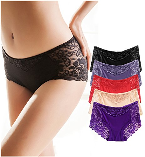 Women Lace Sexy Underwear Panties,Soft Comfortable Mid Waist Breathable Briefs Lingeries