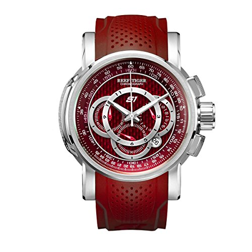 Reef Tiger Sport Watches for Men Red Dial Rubber Strap Chronograph Watches with Date - Strap Rubber Dial Red