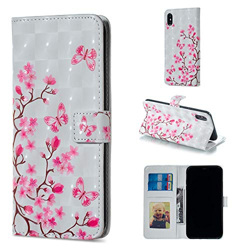 """Amocase Wallet Leather Case with 2 in 1 Stylus for iPhone X/XS 5.8"""",Premium Slim Cute 3D Painting Shockproof Magnetic PU Leather Card Slot Stand Case - Pink Butterfly Flower"""