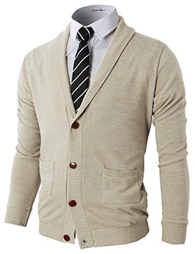 H2H Men's Long Sleeve Button Front Cotton Cashmere Cardigans Ivory US XL/Asia XXL (CMOCAL07)