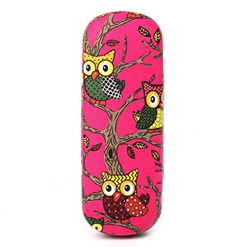 Bettal Cartoon Owl Painted Eyeglass Case, Hard Shell Protective Case for Glasses and Sunglasses (Rose (Eyeglasses Glasses Free Case)