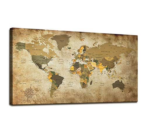 Canvas Wall Art for Office Decor World Map Poster Nautical Decor Large Modern Framed Wall Art Map of The World Vintage Artwork Canvas Art Wall Paintings for Living Room Travel Memory for Home Decor