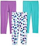 Spotted Zebra Girls' Big 3-Pack Capri Leggings, Mermaid, Medium (8)