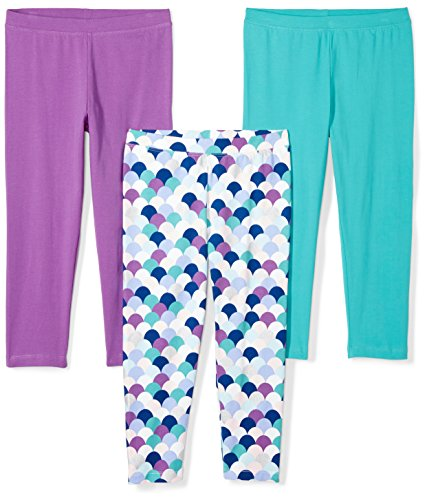 Spotted Zebra Girls' Toddler 3-Pack Capri Leggings, Mermaid, 2T by Spotted Zebra (Image #1)