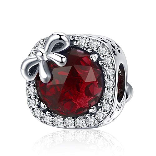 MUERDOU Birthstone Charm for Pandora Charms Bracelet 925 Sterling Silver Bowknot Birthday Crystal Charms for Bracelet and Necklace (July)