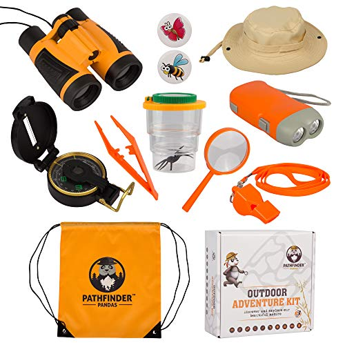 Kids Explorer Kit  Outdoor Adventure Toys for Boys & Girls with SAFARI HAT Binoculars Flashlight Compass Bug Catcher Magnifying Glass & More  Great Educational STEM Kids Gift Set for Camping & Hiking