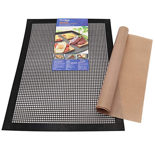 Bluedrop Baking Sheets | Oven Liners & Crisper Toaster Mesh 1 Pcs Each | Crispy Sheets PTFE Baking Liners For Pizza Non Stick Pads