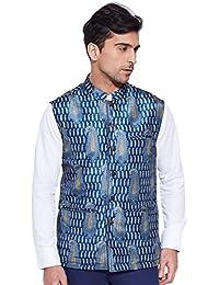 KOKOM Men Designer Digital Polyester Nehru Jacket Casual Wear Printed Waistcoat