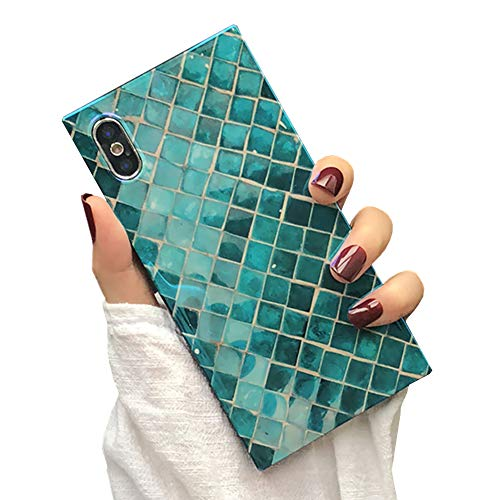 Mermaid Square Little - Square Case for iPhone Xs Max Green Mermaid Scale Fashion Cover Soft Flexible TPU Shockproof Trunk Back Shell (Green Mermaid, iPhone Xs Max)