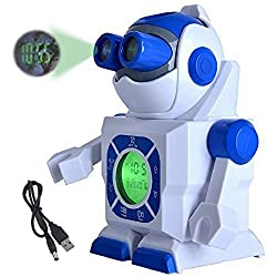 Epro Toy Robot Projection Alarm Clock for Kids, Digital LED display, Twin Projectors onto Ceilings or Walls, Dual Power Supply AC Adapter or 3 C Batteries