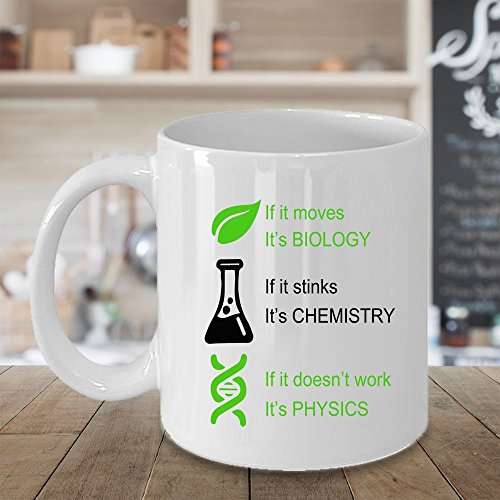 Hasdon-Hill Biology, Chemistry, Physics Coffee Mug,, Funny Tea Cup Idea for Him Or Her Science, Women and Men, Mother, Parent, Sister, Brother, Ceramic 11 Oz White by Hasdon-Hill (Image #1)