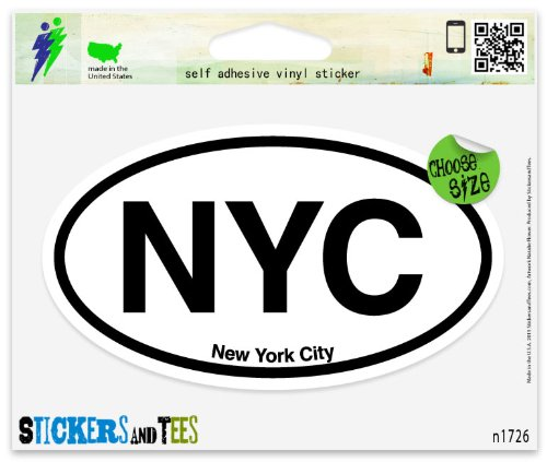 NYC New York City Oval Vinyl Car Bumper Window Sticker 3