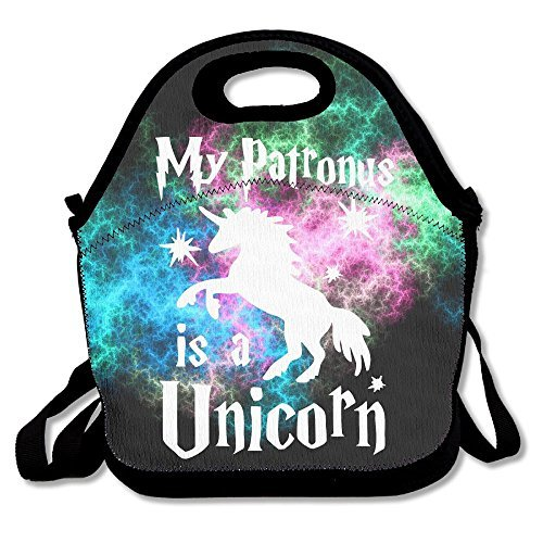 My Patronus Is An Unicorn Lunch Bags Insulated Travel Picnic Lunchbox Tote Handbag With Shoulder Strap For Women Teens Girls Kids Adults