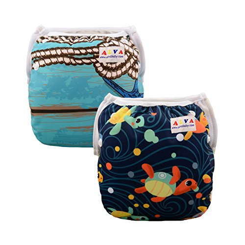 ALVABABY Swim Diapers 2pcs One Size Reuseable &Adjustable 0-24 mo.Size 10-40lbs SWD25-26