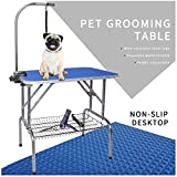 """LEIBOU Pet Dog Grooming Table Foldable Grooming Table Heavy Duty Stainless Steel Frame with Arm & Noose & Mesh Tray for Dog Cat Pet Grooming Blue(32"""" x 20"""" x 30'')"""