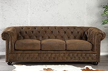 dunord design sofa couch chesterfield 3er braun antik look design polster mobel england