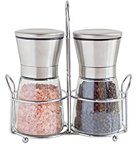 Salt and Pepper Grinders with Stand - Spice Mill with Adjustable Coarseness - Brushed Stainless Steel Salt and Pepper Mill Set