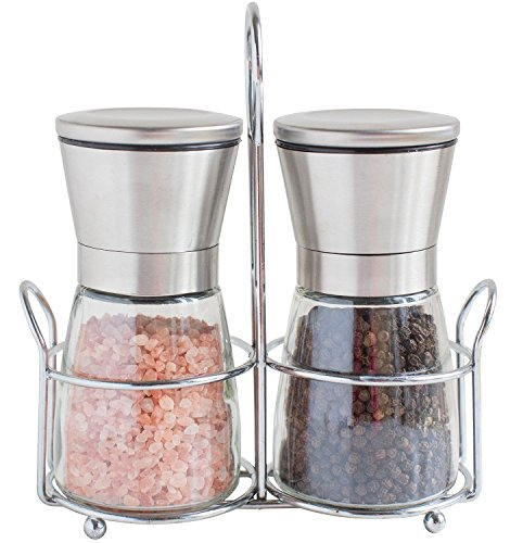 UPC 712038101214, Salt and Pepper Grinders with Stand - Spice Mill with Adjustable Coarseness - Brushed Stainless Steel Salt and Pepper Mill Set